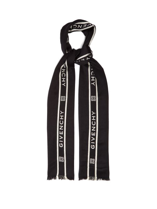 Givenchy Logo-Jacquard Wool And Silk-Blend Scarf In Black