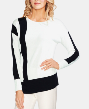Vince Camuto Asymmetrical-Colorblocked Sweatshirt In Pearl Ivory