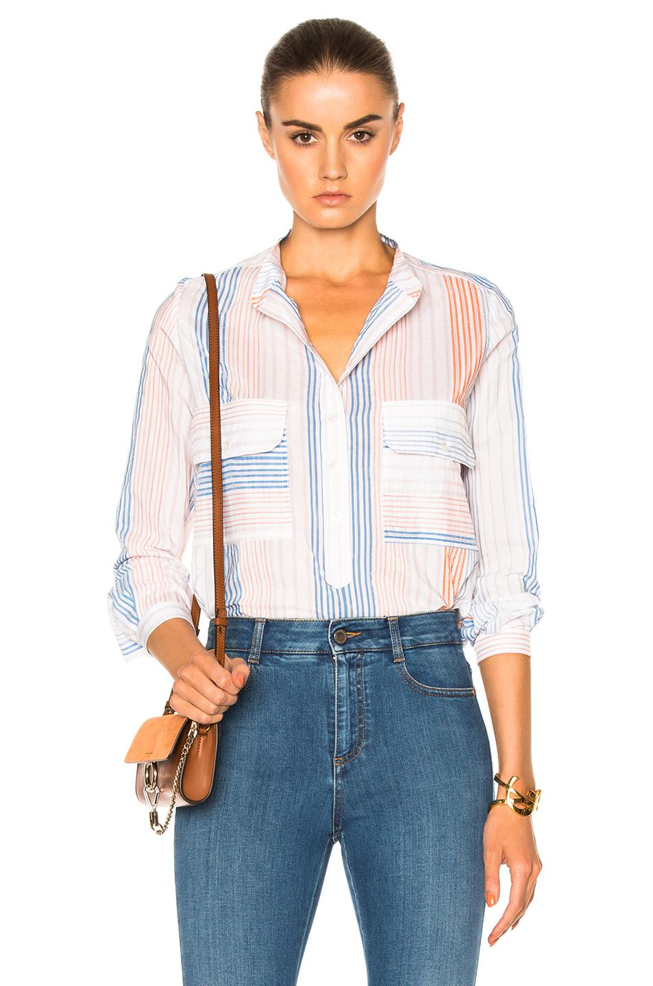 Stella Mccartney Striped Gauze Two-pocket Blouse, Orange/multi, Orange Multicolor In White