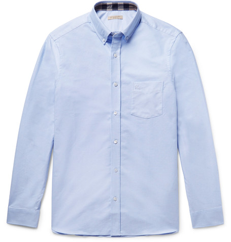 Burberry Slim-fit Button-down Collar Cotton Oxford Shirt In Blue