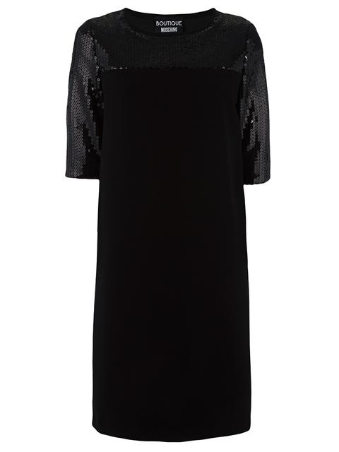 Boutique Moschino Sequin Embellished Panel Dress In Black