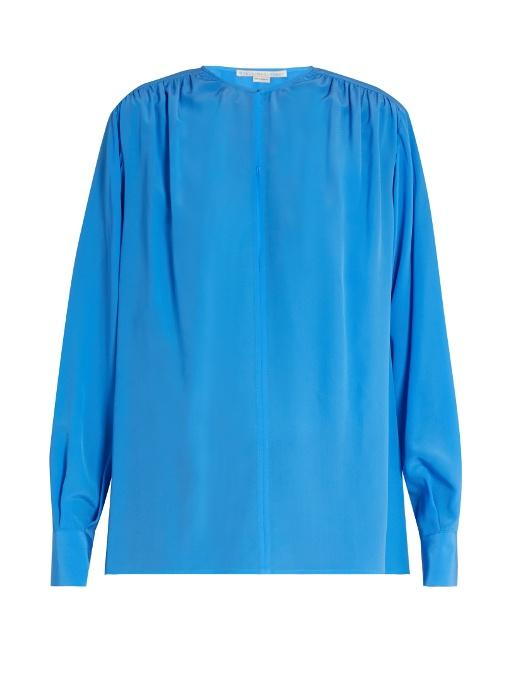 Stella Mccartney Gathered Round-neck Silk Blouse In Blue
