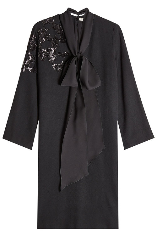 Etro Wool Crepe Dress With Sequins In Black