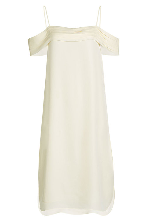 T By Alexander Wang Silk Chiffon Dress With Cold Shoulder Detail In White