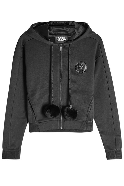 Karl Lagerfeld Zipped Hoody With Fur Pom-poms In Black
