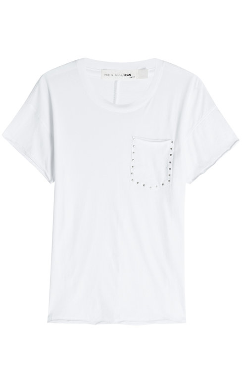 Rag & Bone Cotton T-shirt With Embellished Breast Pocket In White