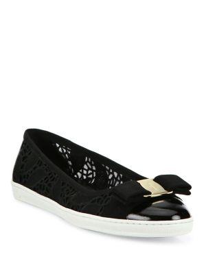 Salvatore Ferragamo Rufina Lace Bow Sneaker Flats In Nero