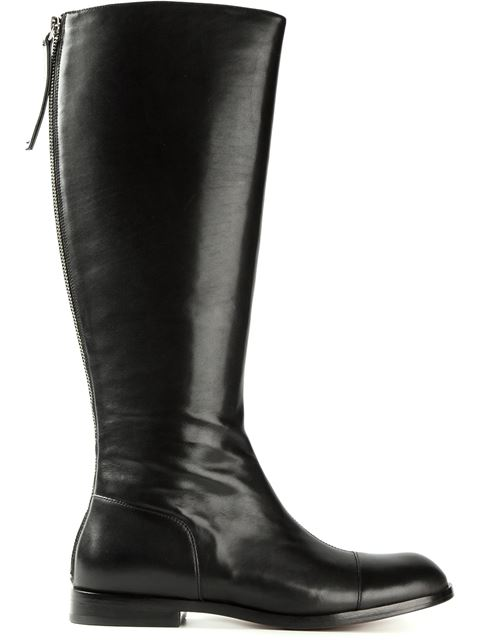 Marc By Marc Jacobs Back Zip Riding Boots In Dark Blue