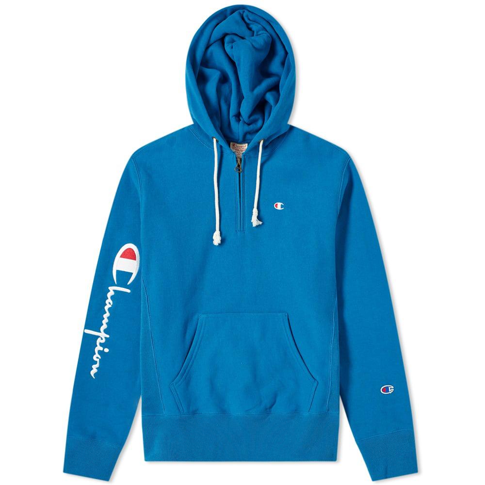 8e5caae5 Champion Reverse Weave Logo Half Zip Hoody In Blue   ModeSens