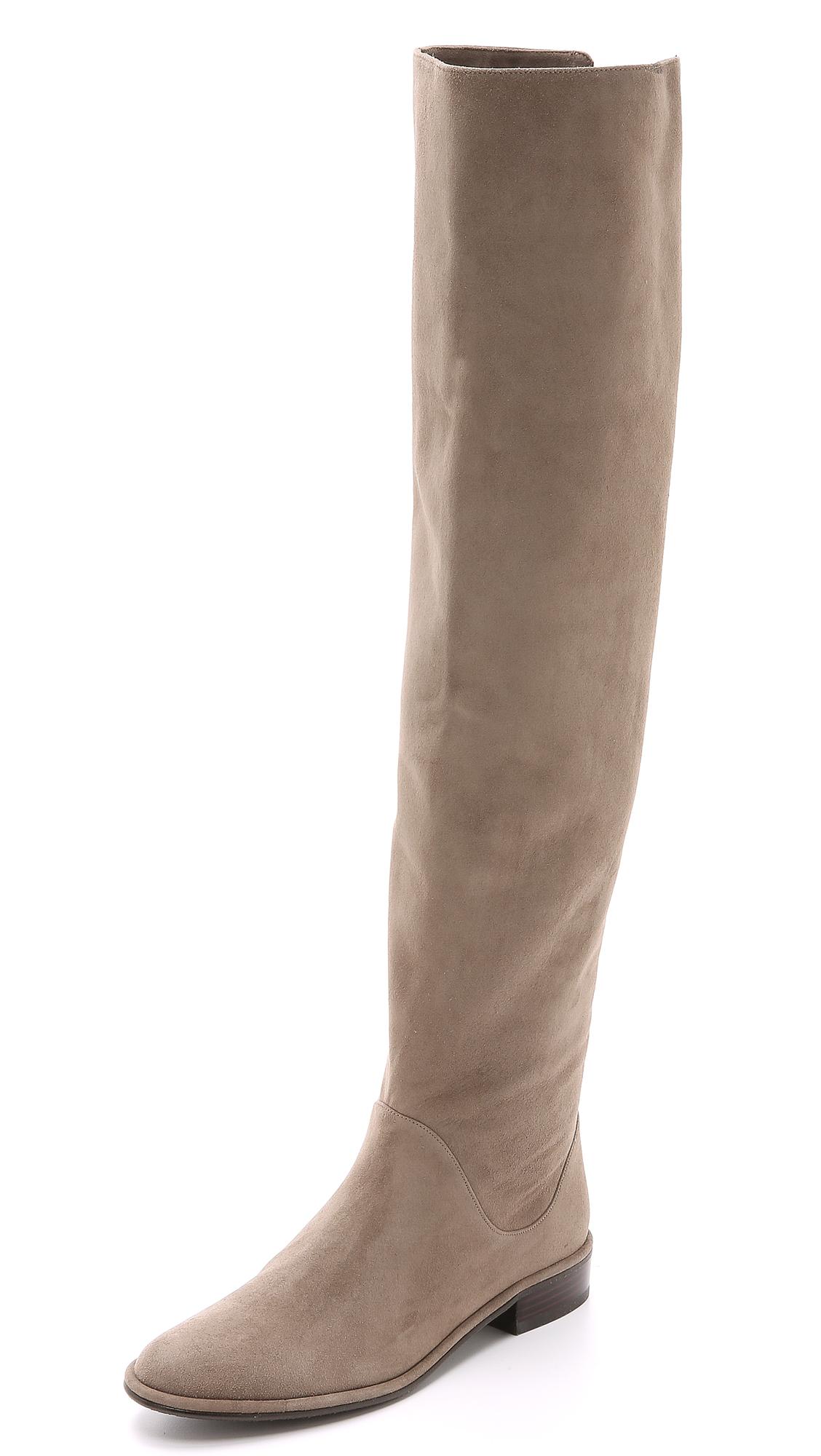 Stuart Weitzman Rocker Chic Suede Boots In Praline