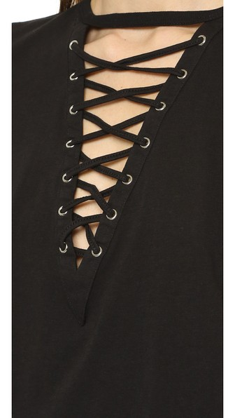 Glamorous Lace Up Tee In Black