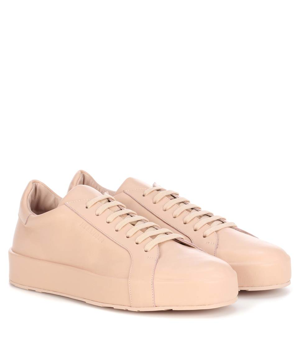 Jil Sander Leather Sneakers In Light Piek