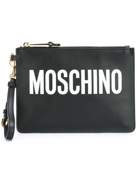Moschino Logo Print Clutch In Black