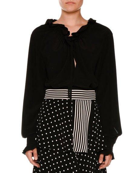 Stella Mccartney Drawstring Ruffled-trim Tunic Blouse, Black