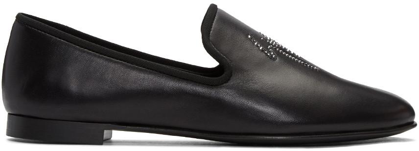 Giuseppe Zanotti 'cornell' Crystal Logo Leather Loafers In Black