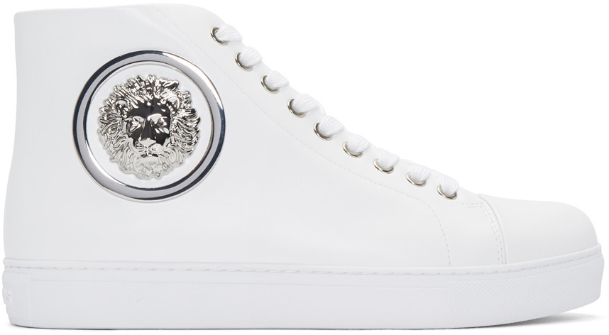 Versus White Lion Medallion High-top Sneakers