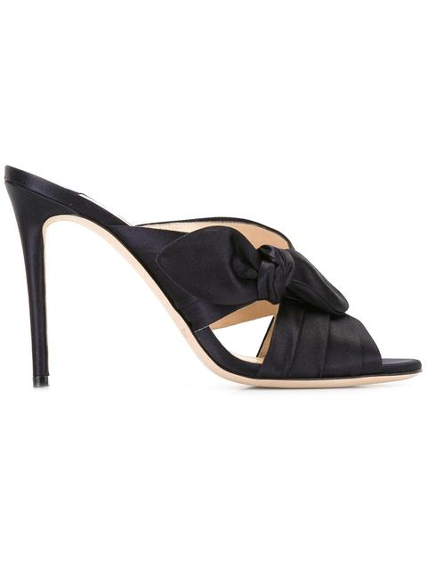 Jimmy Choo Keely Knotted Satin Crisscross Mules In Eavy