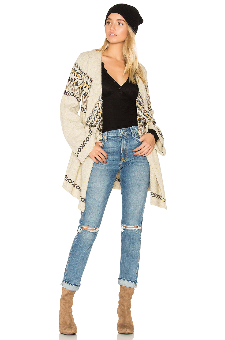 Chaser Drape Front Open Cardigan In Vintage Sweater