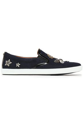 Jimmy Choo Woman Embellished Patent Leather-Trimmed Wool Slip-On Sneakers Navy