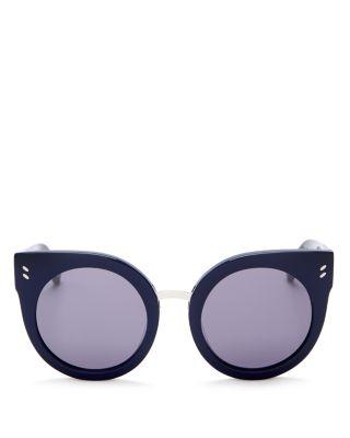 Stella Mccartney Cat Eye Sunglasses, 50mm In Blue/flash Silver Mirror