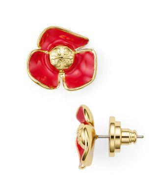 Tory Burch Fleur Stud Earrings In Red