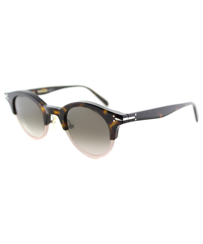 Celine Julia Round Plastic Sunglasses In Havana Brown