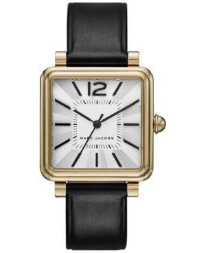 Marc Jacobs Vic Goldtone Stainless Steel & Leather Strap Watch In Black