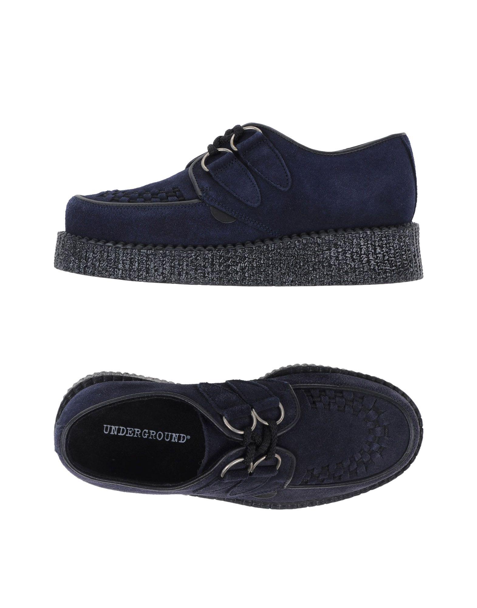 Underground Laced Shoes In Dark Blue