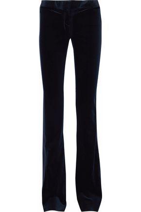 Roberto Cavalli Woman Cotton-Blend Velvet Bootcut Pants Midnight Blue