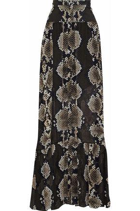 Roberto Cavalli Woman Snake-Print Silk-Chiffon Maxi Skirt Animal Print