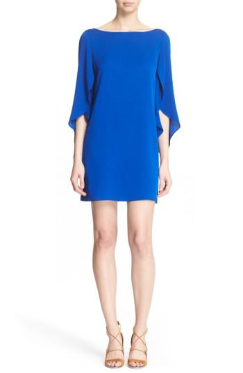 Milly Butterfly Sleeve Stretch Silk Crepe Minidress In Cobalt