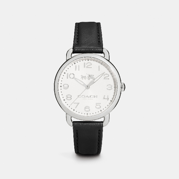 Coach Delancey Stainless Steel Leather Strap Watch In Black