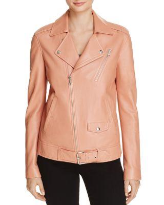 Theory Tralsmin Leather Biker Jacket In Pink
