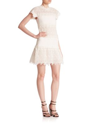 Giambattista Valli Sleeveless MacramÉ-lace Ruffled Dress In Ivory