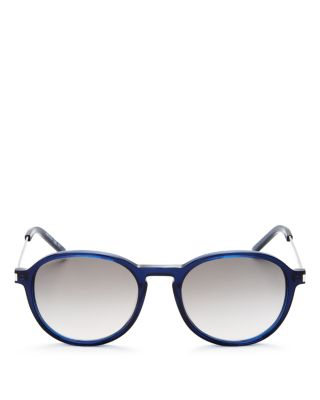 Saint Laurent Thin Rounded Pantos Sunglasses, 50mm In Transparent Blue/dark Gray Gradient