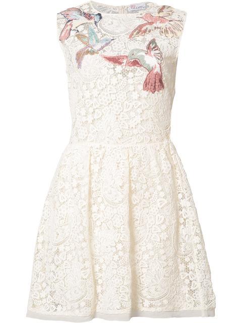 Red Valentino Sleeveless Hummingbird Embroidered Macramé Dress, Panna