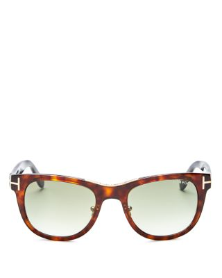 Tom Ford Jack Combo Square Sunglasses, 50mm In Shiny Havana/gradient Green Lens