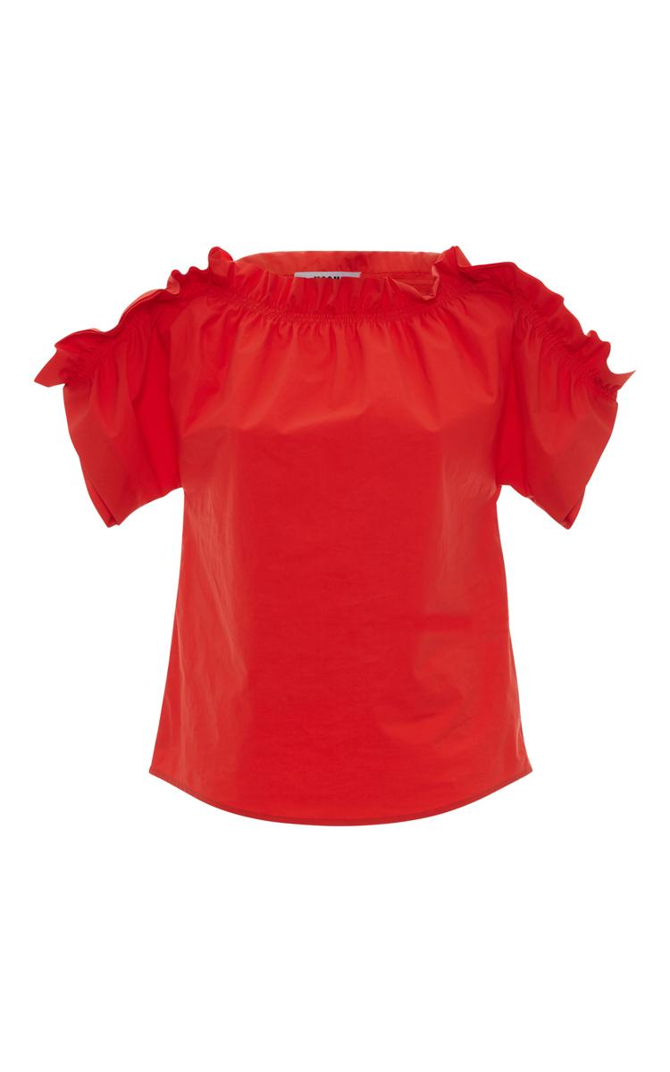 Msgm Off-the-shoulder Ruffle-trim Poplin Top, Red