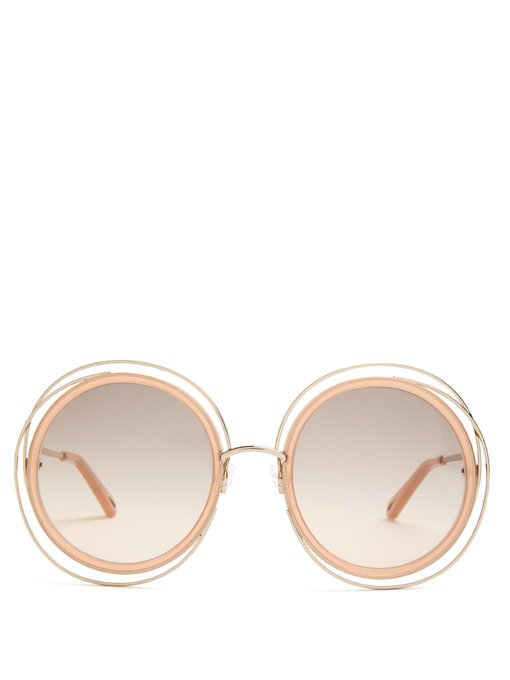 9ab06282853 ChloÉ Carlina Trimmed Round Sunglasses In Nude