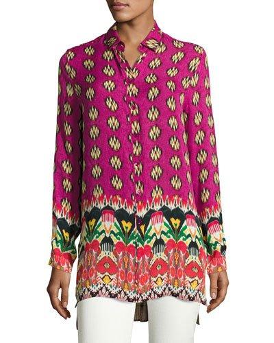 Etro Printed Silk Crepe De Chine Long Shirt In Fuchsia