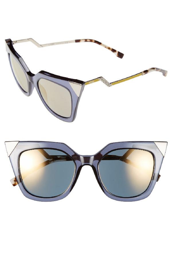 Fendi 52mm Cat Eye Sunglasses - Blue/ Grey