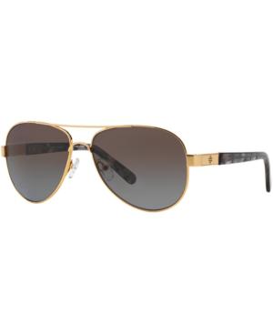 Tory Burch Women's Polarized Aviator Sunglasses, 57mm In Gold Brown/brown Purp G P