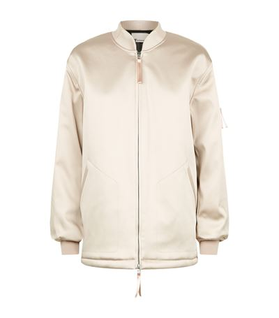 c874bc466 Water Resistant Padded Satin Oversized Bomber Jacket in Neutral