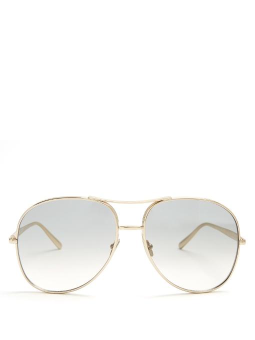 ChloÉ Women's Nerine Brow Bar Aviator Sunglasses, 60mm In Gold-tone