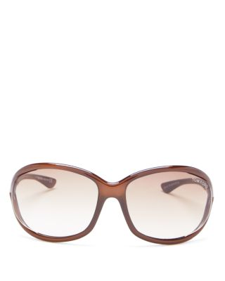 96ac60d1b8ec Tom Ford  Jennifer  61Mm Oval Oversize Frame Sunglasses - Dark Brown ...