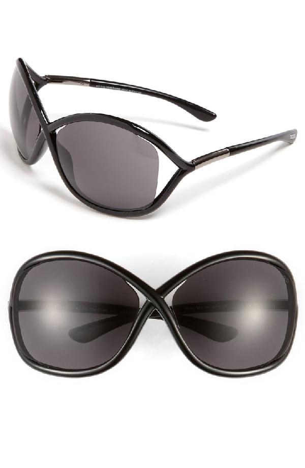 Tom Ford 'whitney' 64mm Open Side Sunglasses - Black Smoke