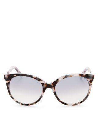 Kate Spade Amaya Cat Eye Sunglasses, 53mm In Lilac Havana/gray Silver Flash Mirror Gradient