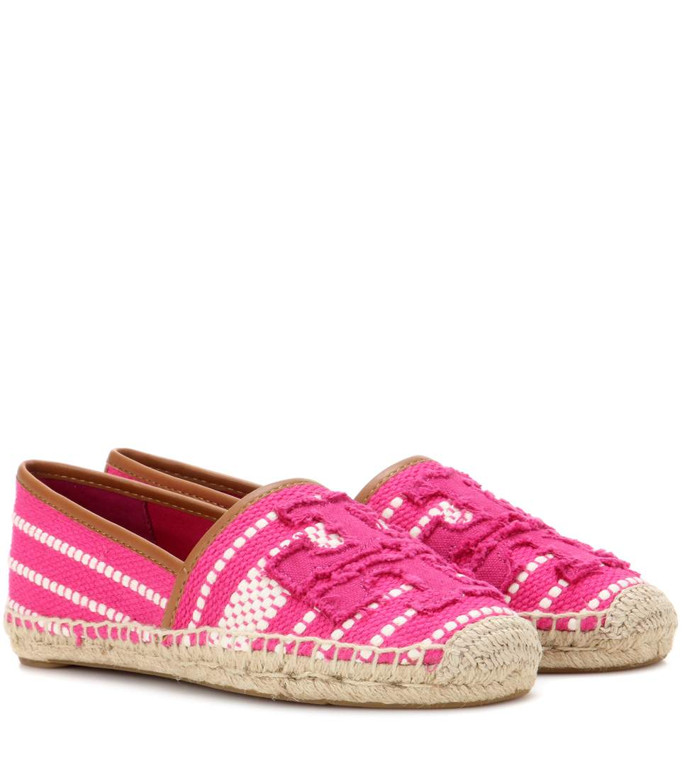 Tory Burch Shaw Canvas Espadrille Flat, Pink In Hibiscus Flower/ Royal Tan