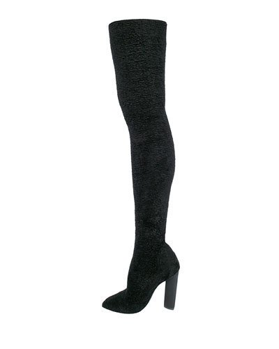 Yeezy Thick Knit Over-the-knee Boots (season 3) In Black