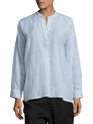 Vince Shirred Back Blouse In White Blue